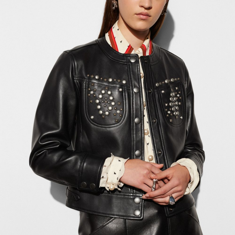 STUDDED LEATHER JACKET - Alternate View