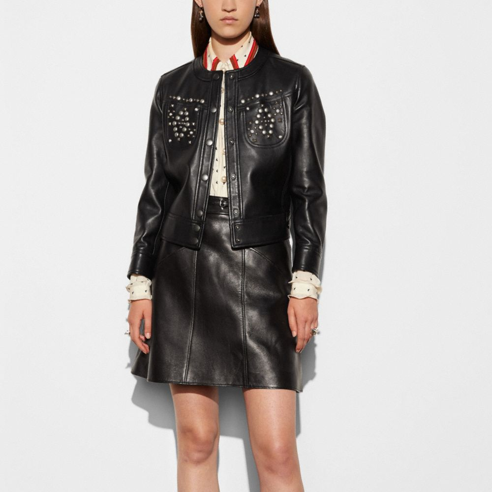 Studded Leather Jacket - Alternate View M1