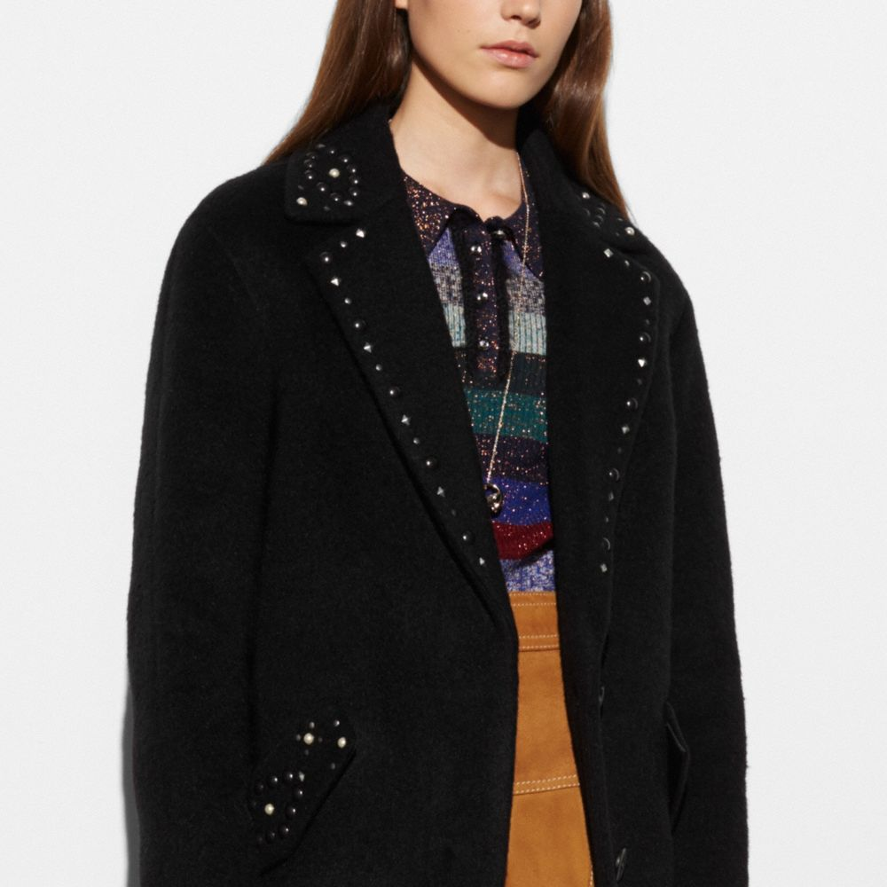 Coach Studded Wool Coat Alternate View 2