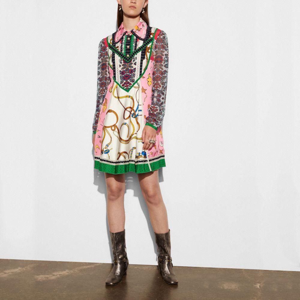 Long Sleeve Victorian Print Dress
