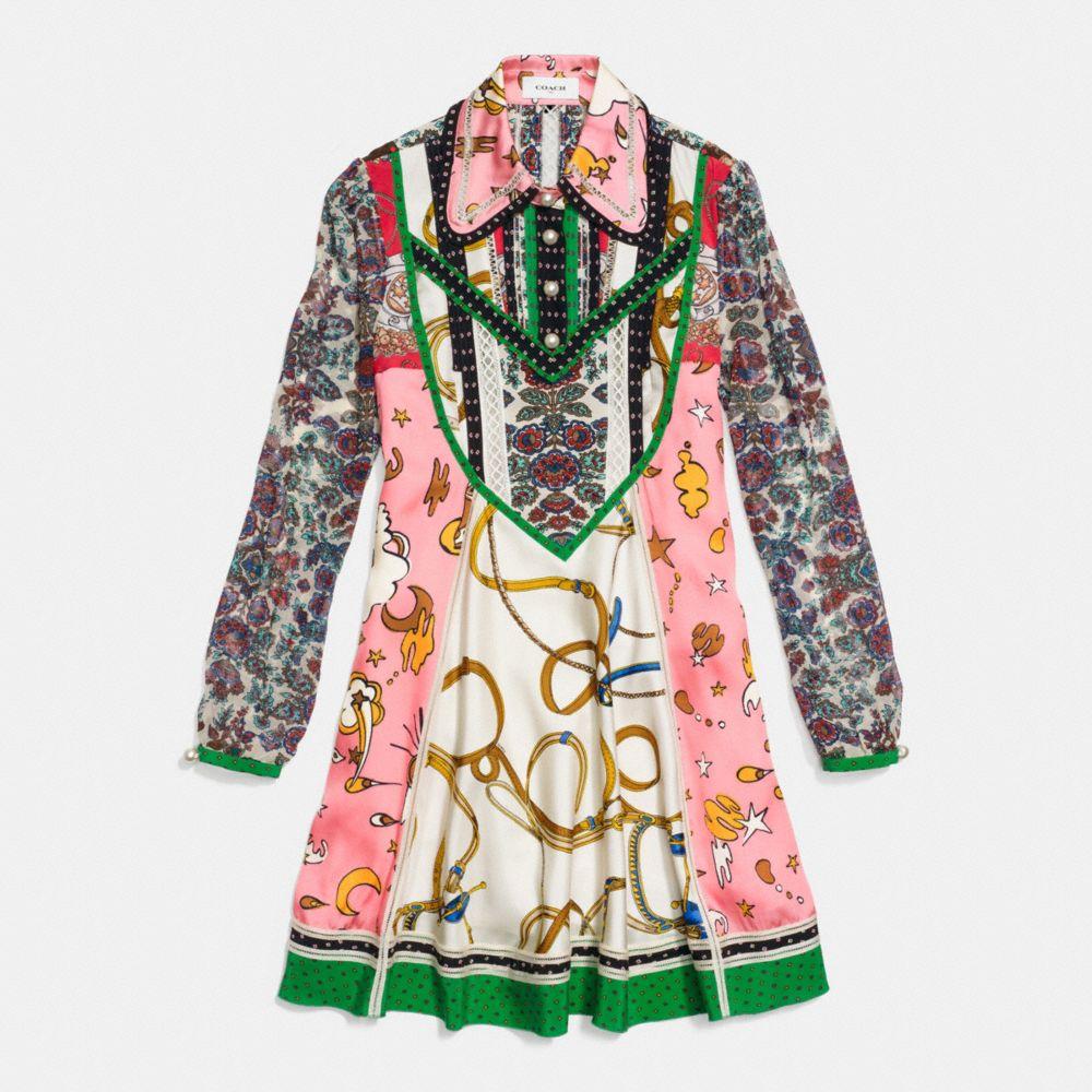Long Sleeve Victorian Print Dress - Alternate View A1