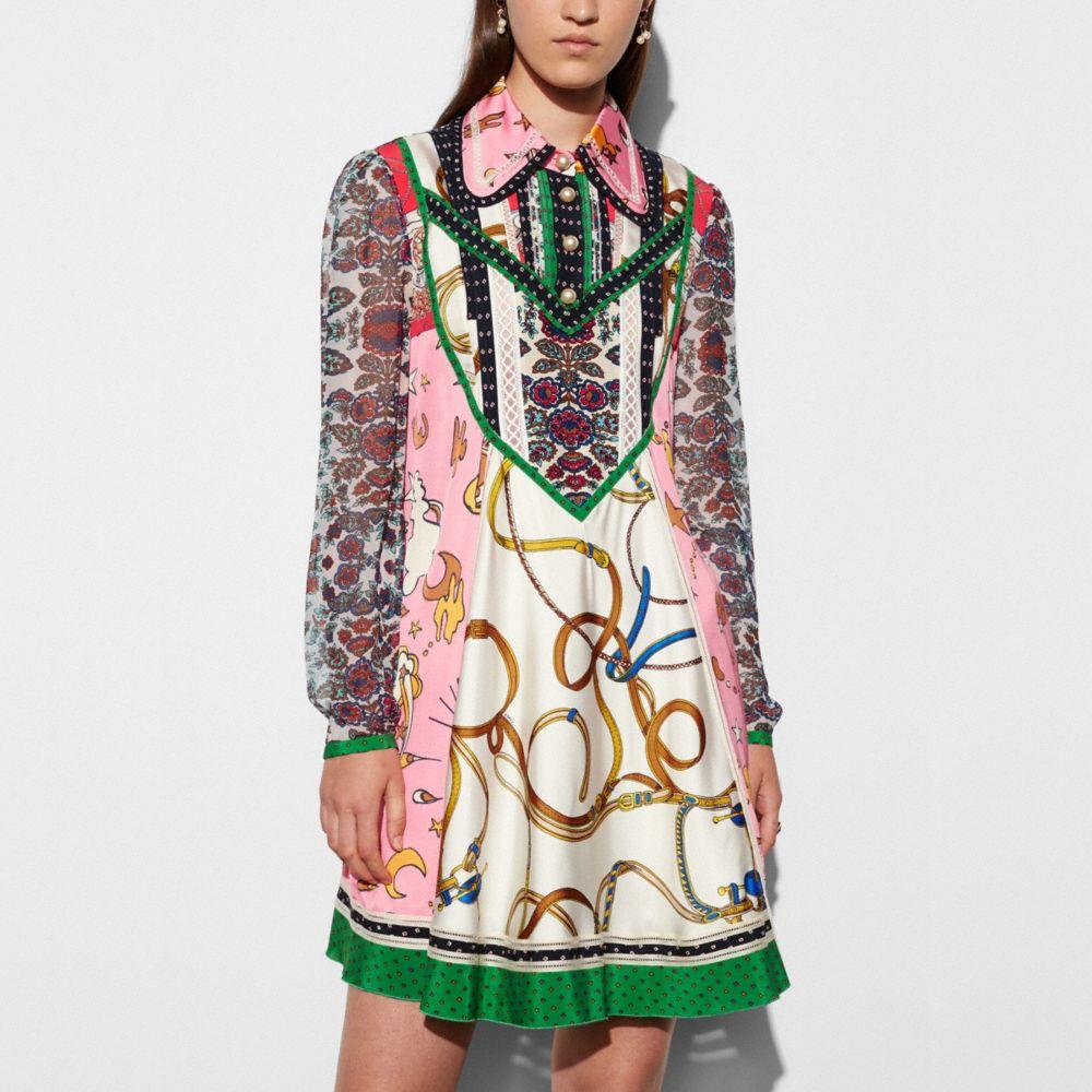 Long Sleeve Victorian Print Dress - Alternate View M
