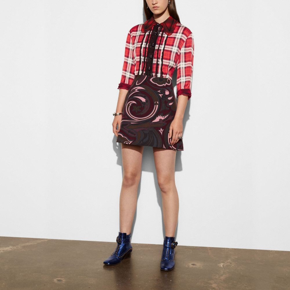 SHORT SLEEVE PLAID AND SCARF DRESS - Alternate View