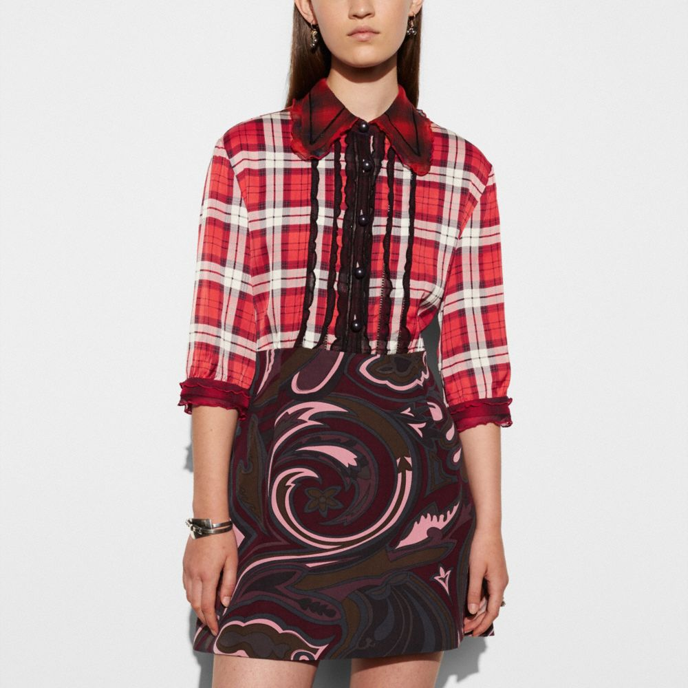 Short Sleeve Plaid and Scarf Dress - Alternate View M