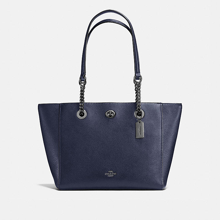 Tote - Polished Leather Turnlock Chain Tote 27 Chambray - blue - Tote for ladies Coach Outlet Wiki Free Shipping 2018 Cheap Best Store To Get Cheap Sale Wiki Limited zpGkq