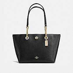 TURNLOCK CHAIN TOTE 27 - LIGHT GOLD/BLACK - COACH 57107