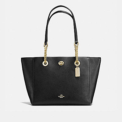 TURNLOCK CHAIN TOTE 27 IN POLISHED PEBBLE LEATHER