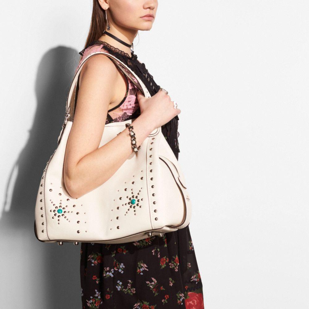 Western Rivets Edie Shoulder Bag 42 in Glovetanned Leather - Alternate View A3