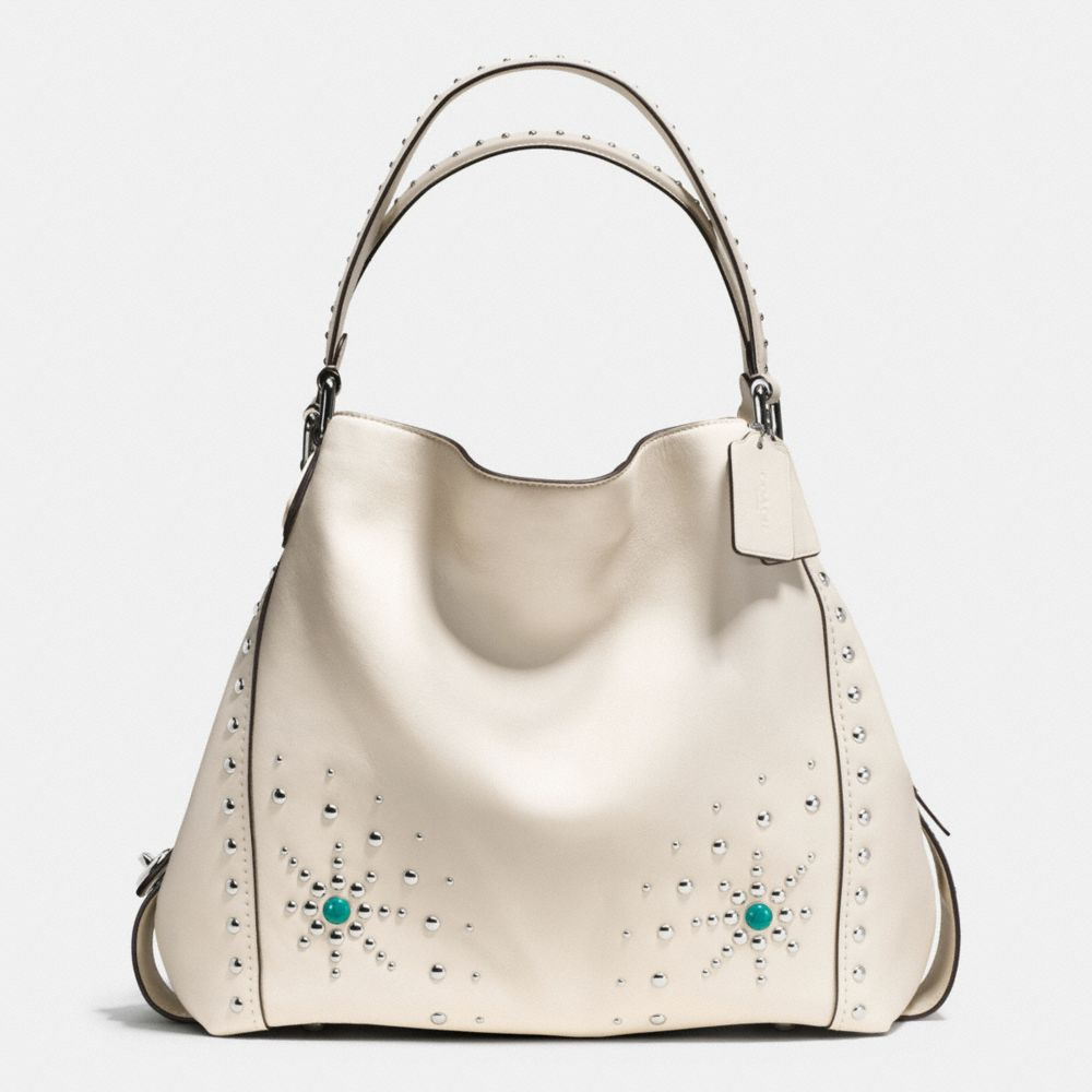 Coach Western Rivets Edie Shoulder Bag 42 in Glovetanned Leather