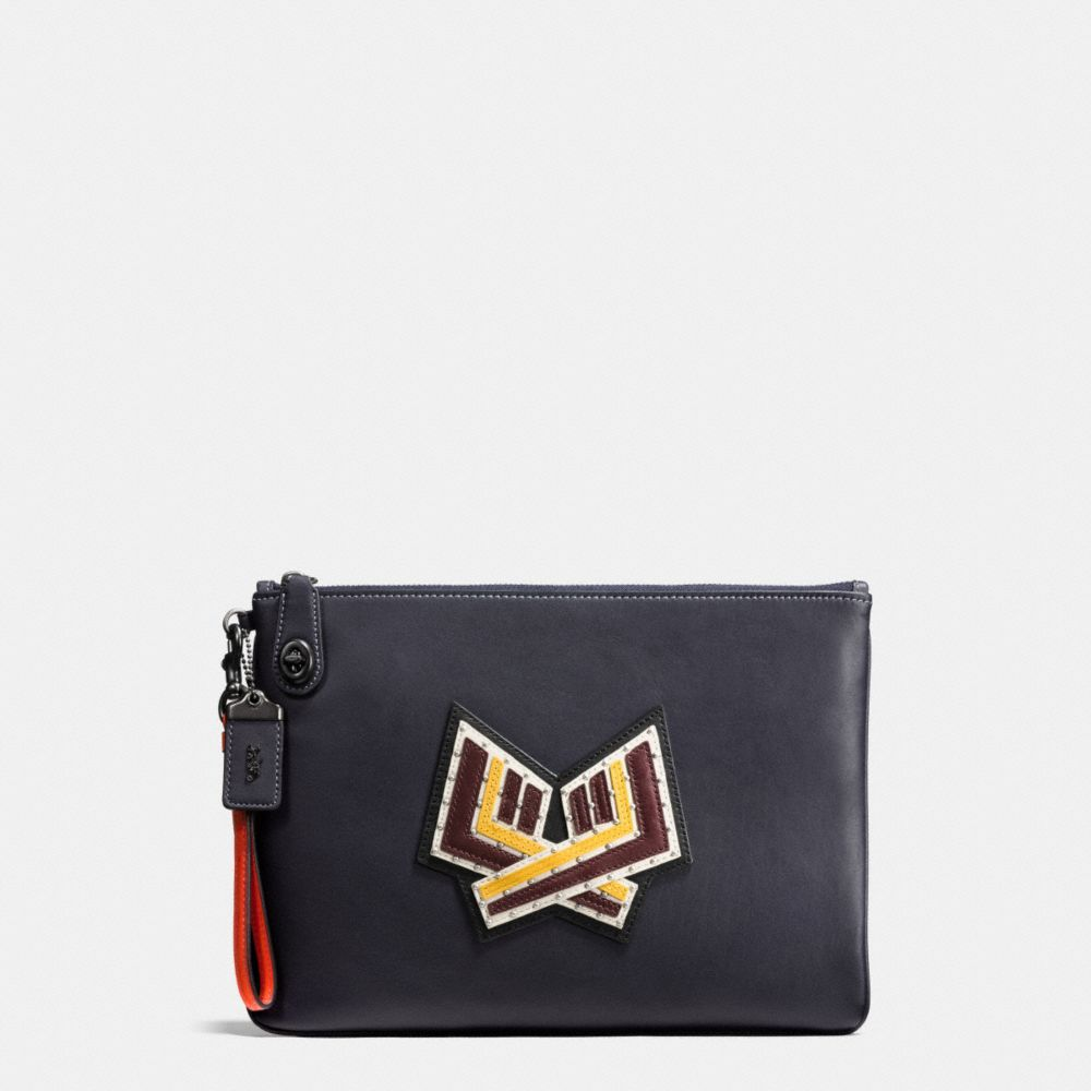Coach Varsity Patches Turnlock Wristlet 30 in Glovetanned Leather