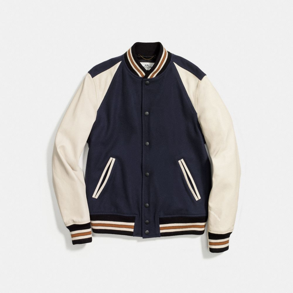 Wool Leather Varsity Jacket - Alternate View A1