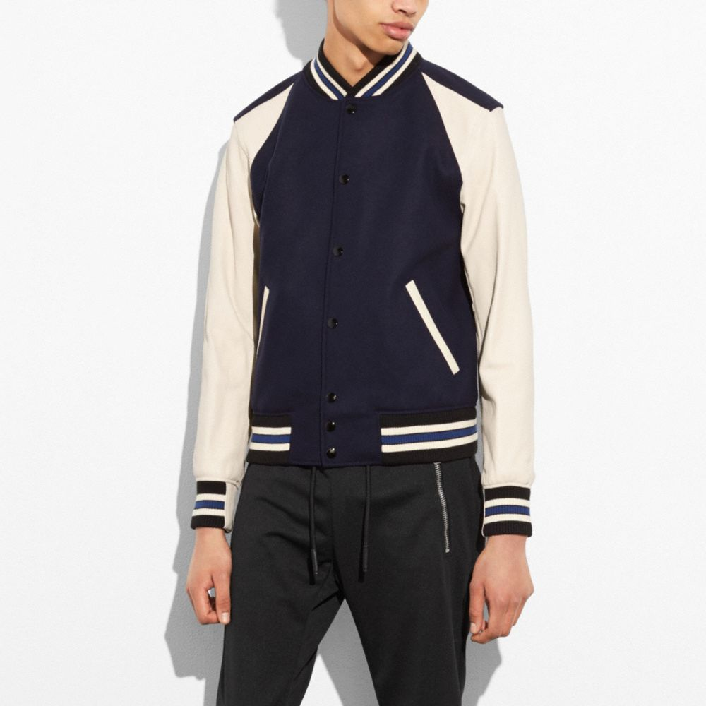 Wool Leather Varsity Jacket - Alternate View M2