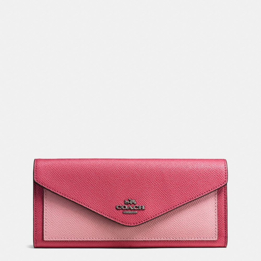 SOFT WALLET IN COLORBLOCK CROSSGRAIN LEATHER
