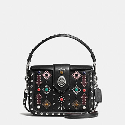 ALL OVER WESTERN RIVETS PAGE CROSSBODY IN GLOVETANNED LEATHER