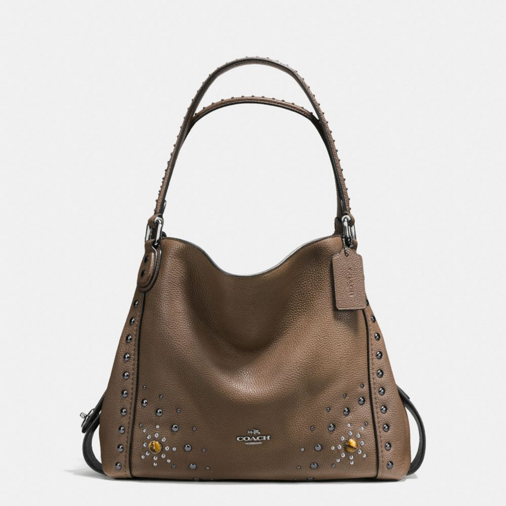 EDIE SHOULDER BAG 31 IN POLISHED PEBBLE LEATHER WITH WESTERN RIVETS - Alternate View