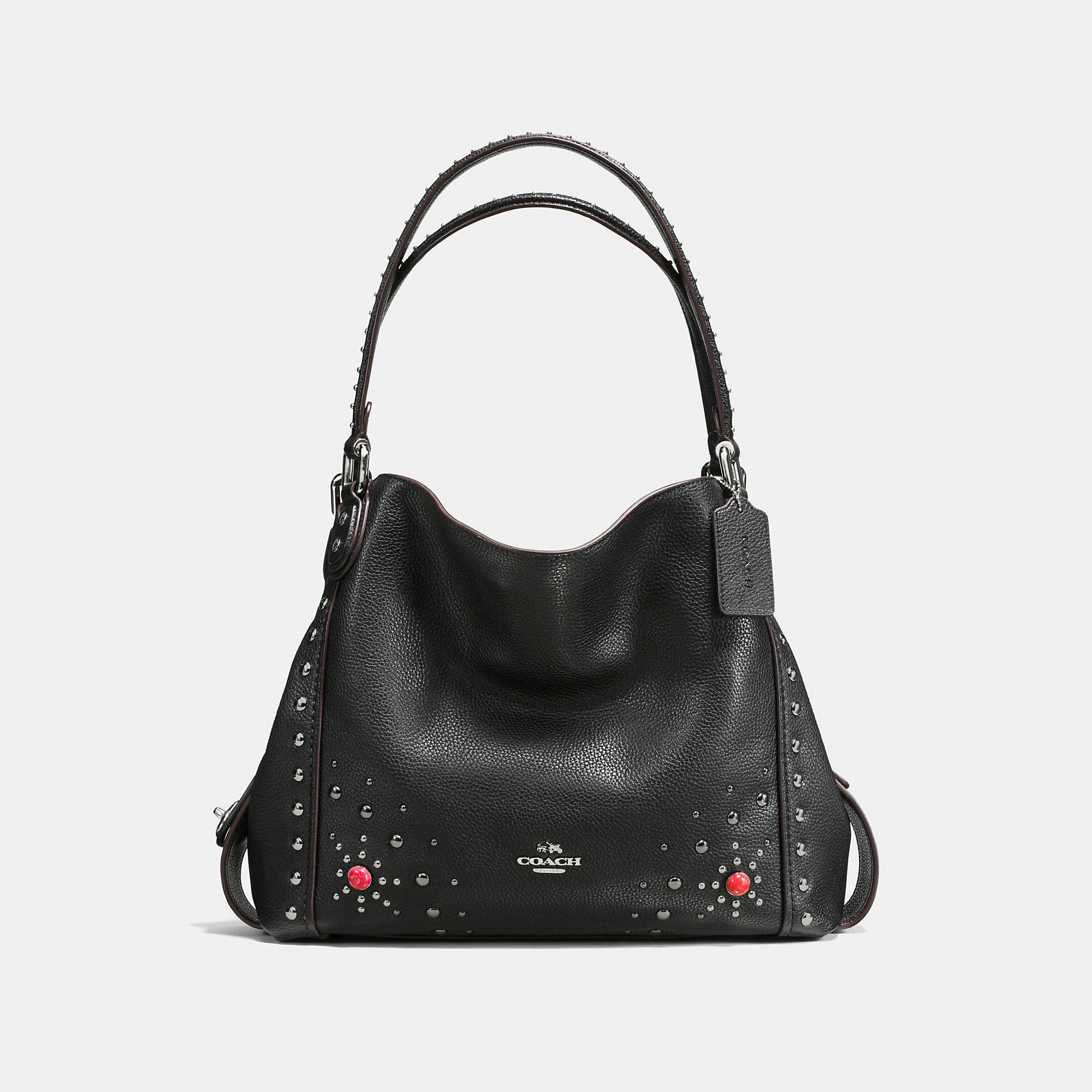 Coach Western Rivets Edie Shoulder Bag 31 In Polished Pebble Leather