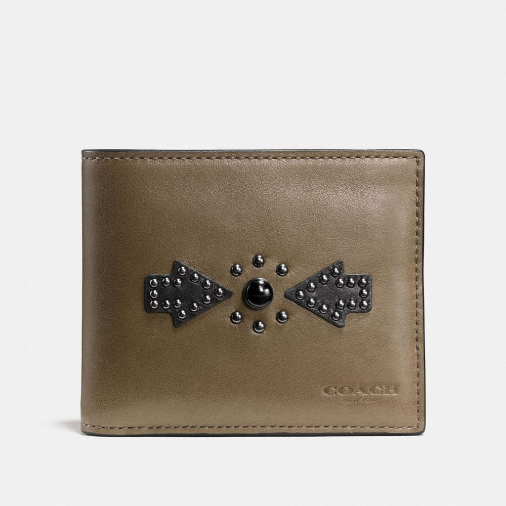3-In-1 Wallet in Sport Calf Leather With Western Rivets