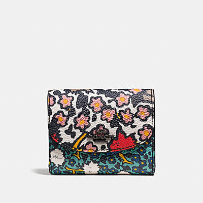 DOUBLE FLAP SMALL WALLET IN MIXED YANKEE FLORAL PRINT CANVAS