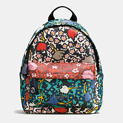 MINI CAMPUS BACKPACK IN MULTI FLORAL PRINT PEBBLE LEATHER
