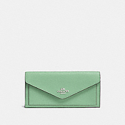 SOFT WALLET - LIGHT TEAL/SILVER - COACH 57715