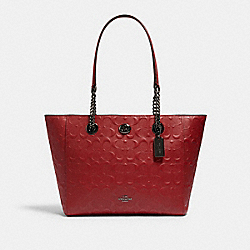 TURNLOCK CHAIN TOTE 27 IN SIGNATURE LEATHER - DK/CHERRY - COACH 57732I