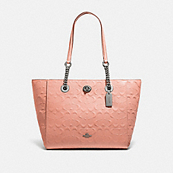 TURNLOCK CHAIN TOTE 27 IN SIGNATURE LEATHER - DK/DARK BLUSH - COACH 57732I