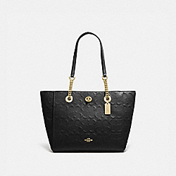 TURNLOCK CHAIN TOTE 27 IN SIGNATURE LEATHER - LI/BLACK - COACH 57732I