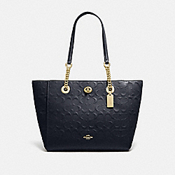 TURNLOCK CHAIN TOTE 27 IN SIGNATURE LEATHER - LI/NAVY - COACH 57732I