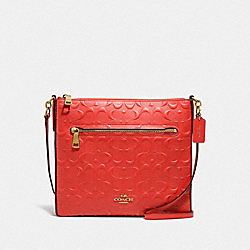 GAZETTE CROSSBODY IN SIGNATURE LEATHER - LI/DEEP CORAL - COACH 57733I