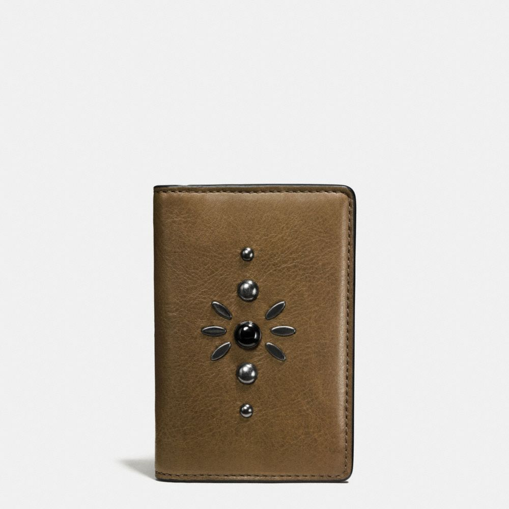 WESTERN RIVETS CARD WALLET IN SPORT CALF LEATHER