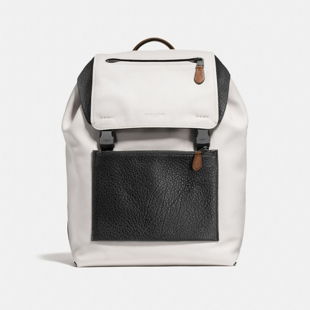 MANHATTAN BACKPACK IN MIXED LEATHERS - Alternate View