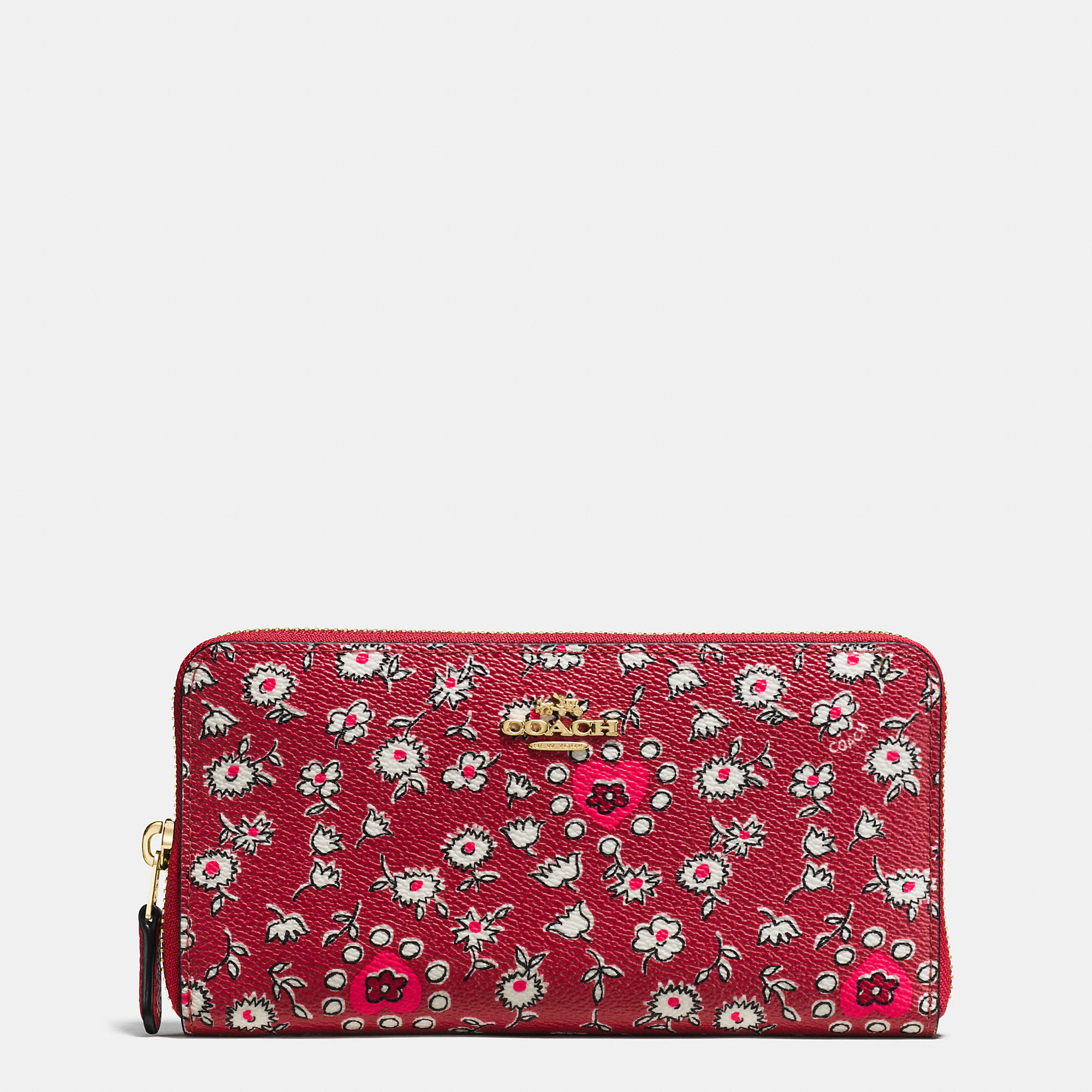 Coach Accordion Zip Wallet In Wild Hearts Print Coated Canvas