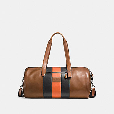 METROPOLITAN SOFT GYM BAG IN SPORT CALF LEATHER WITH VARSITY STRIPE
