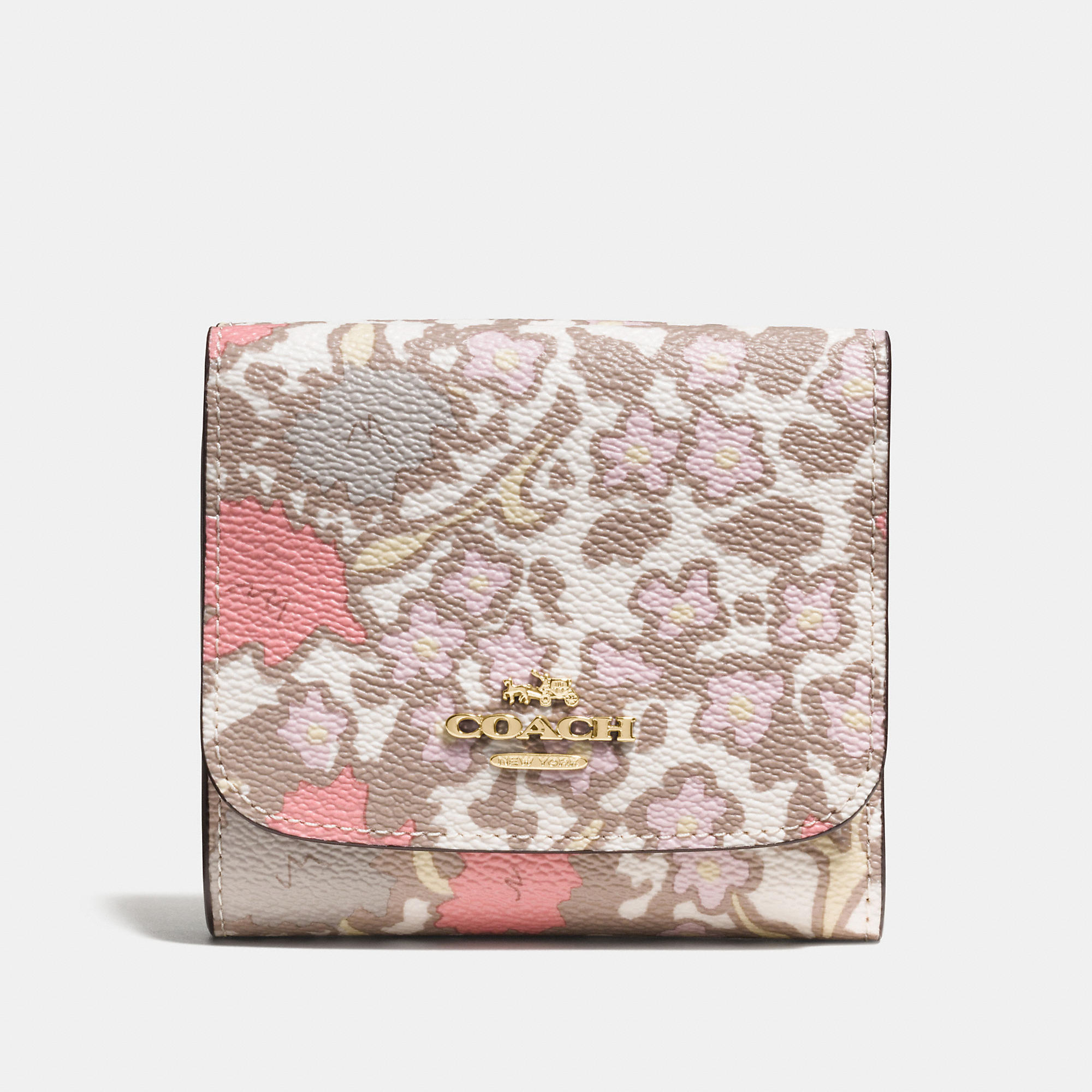 Coach Small Wallet In Yankee Floral Print Coated Canvas