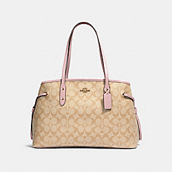 DRAWSTRING CARRYALL IN SIGNATURE CANVAS - IM/LIGHT KHAKI BLOSSOM - COACH 57842