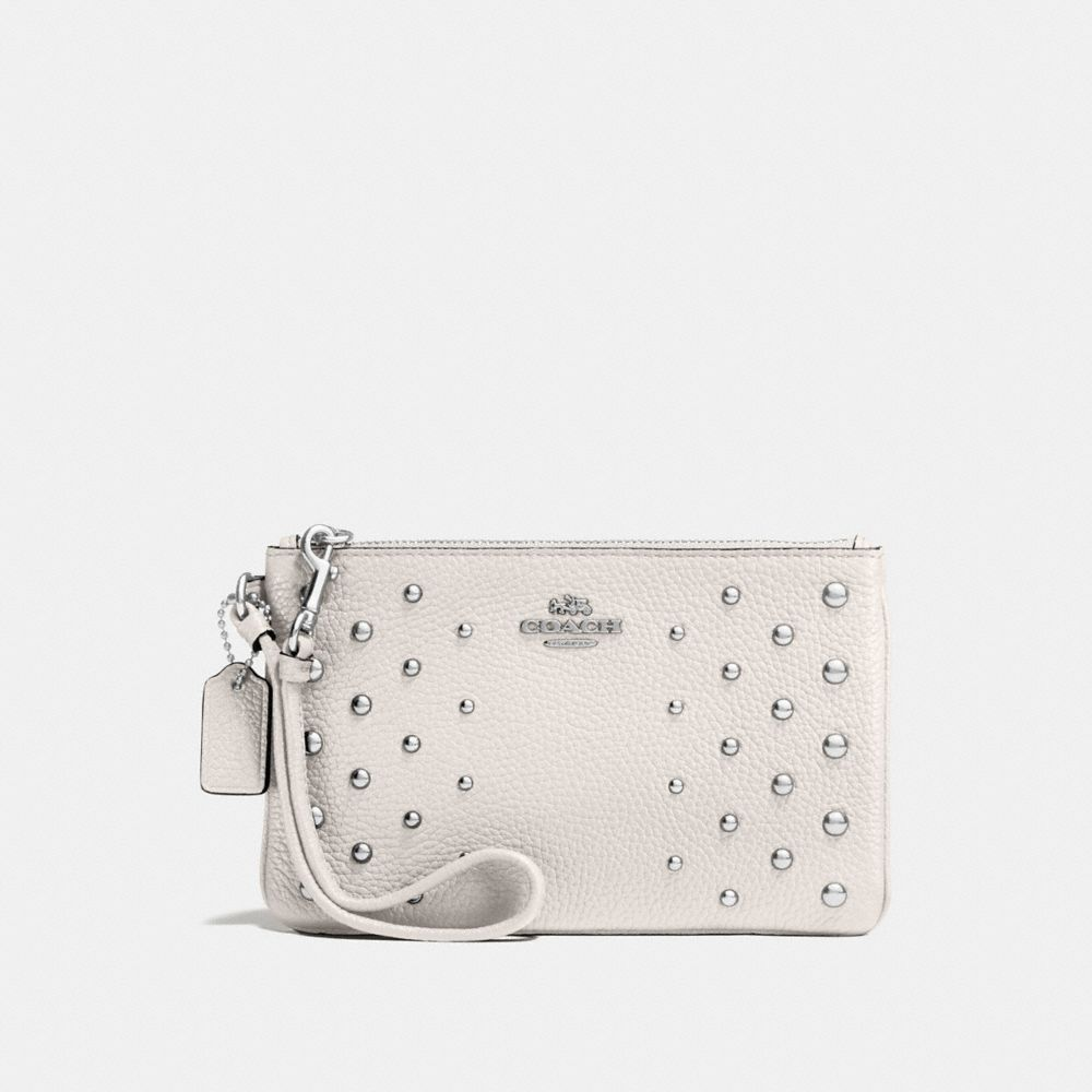 Coach Small Wristlet in Polished Pebble Leather With Ombre Rivets