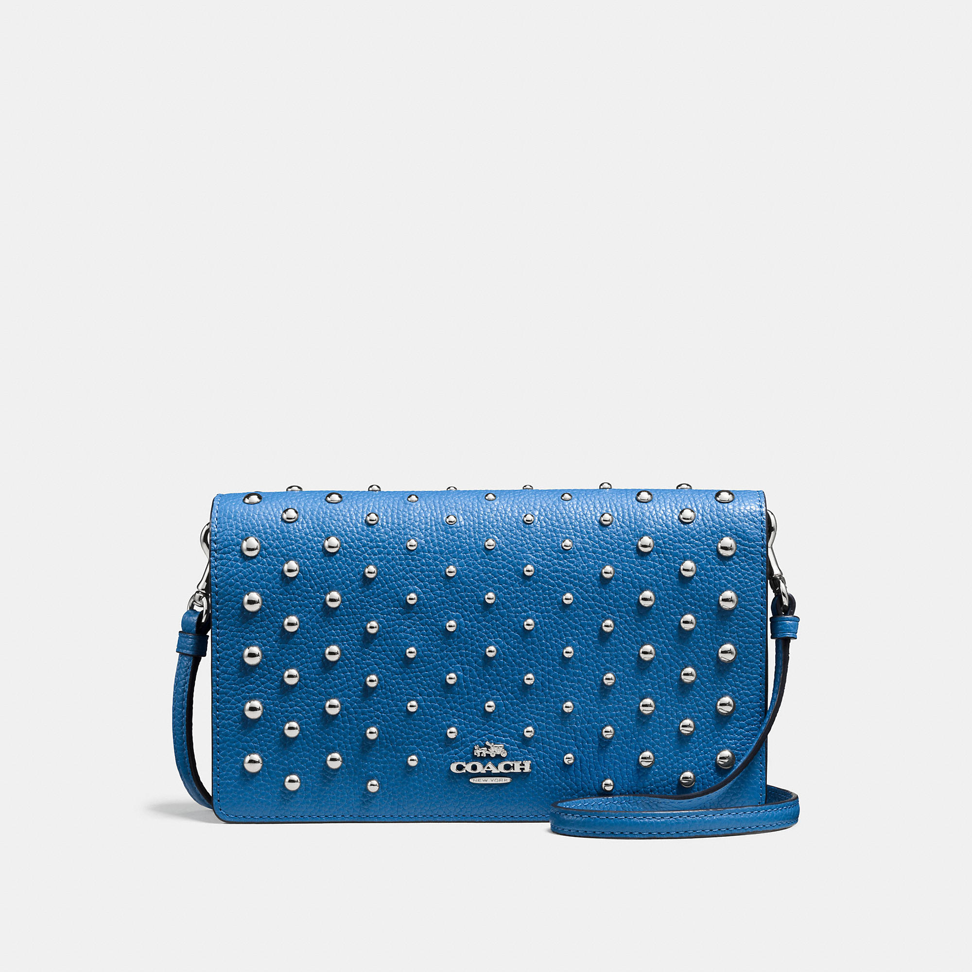 Coach Foldover Crossbody In Polished Pebble Leather With Ombre Rivets
