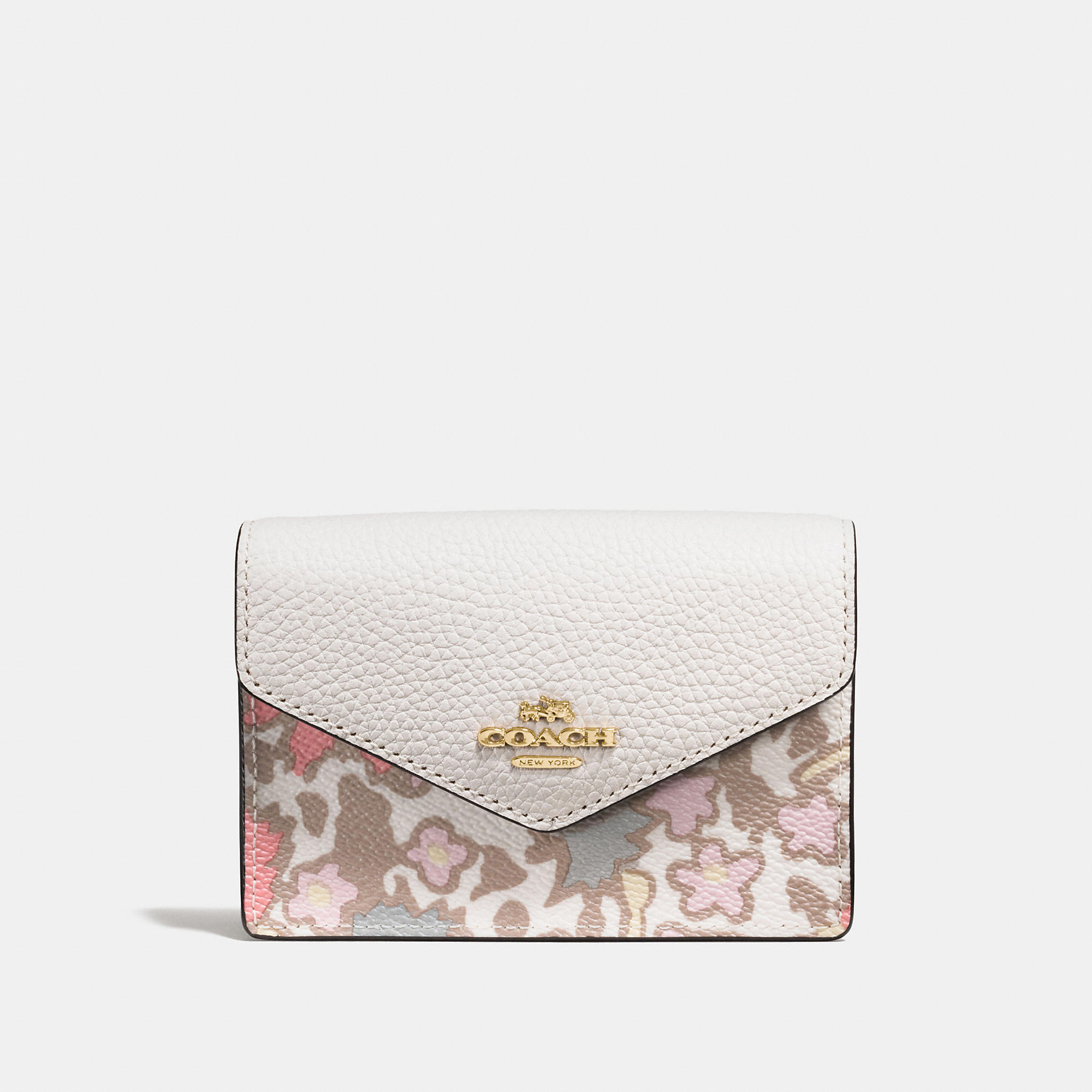 Coach Envelope Card Case In Yankee Floral Print Coated Canvas