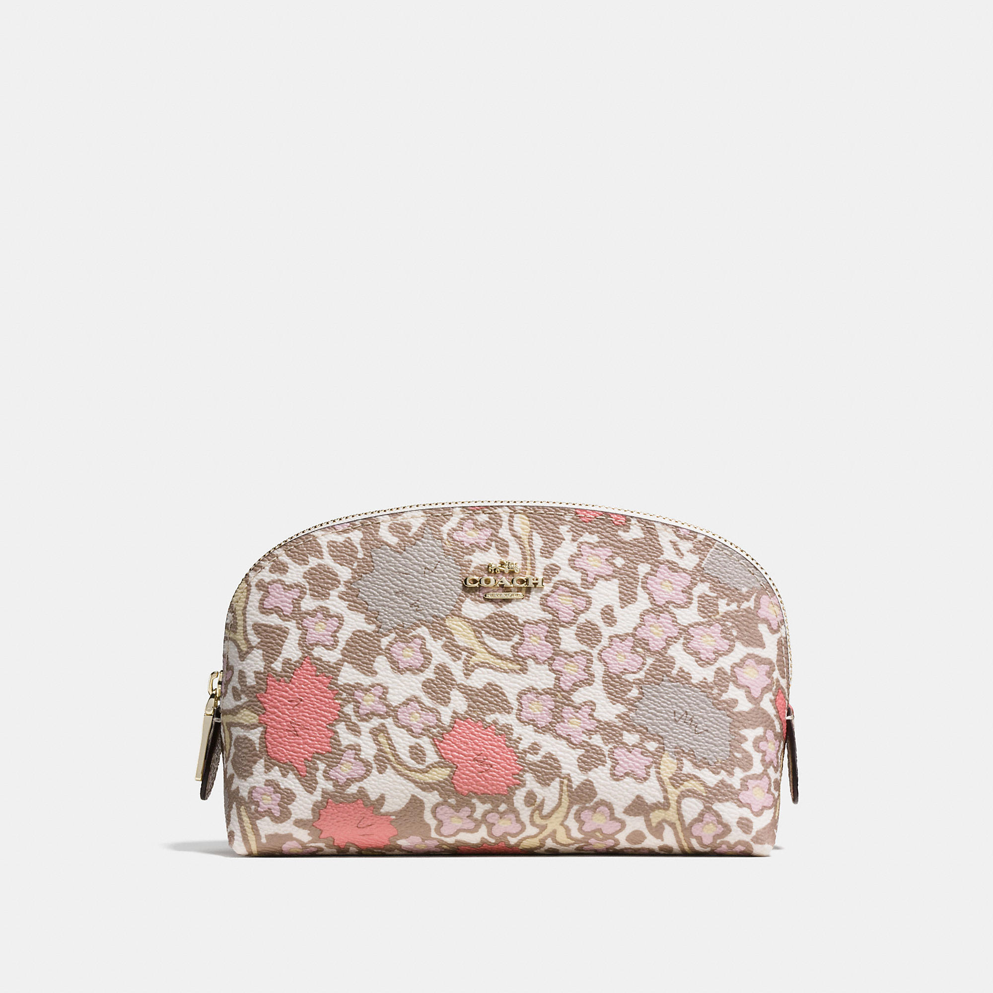 Coach Cosmetic Case 17 In Yankee Floral Print Coated Canvas