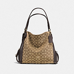 EDIE SHOULDER BAG 31 IN SIGNATURE JACQUARD - LI/KHAKI/BROWN - COACH 57933