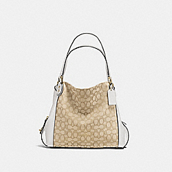 EDIE SHOULDER BAG 31 IN SIGNATURE JACQUARD - LI/LIGHT KHAKI/CHALK - COACH 57933