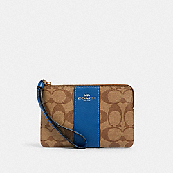 CORNER ZIP WRISTLET IN SIGNATURE CANVAS - IM/KHAKI DEEP ATLANTIC - COACH 58035