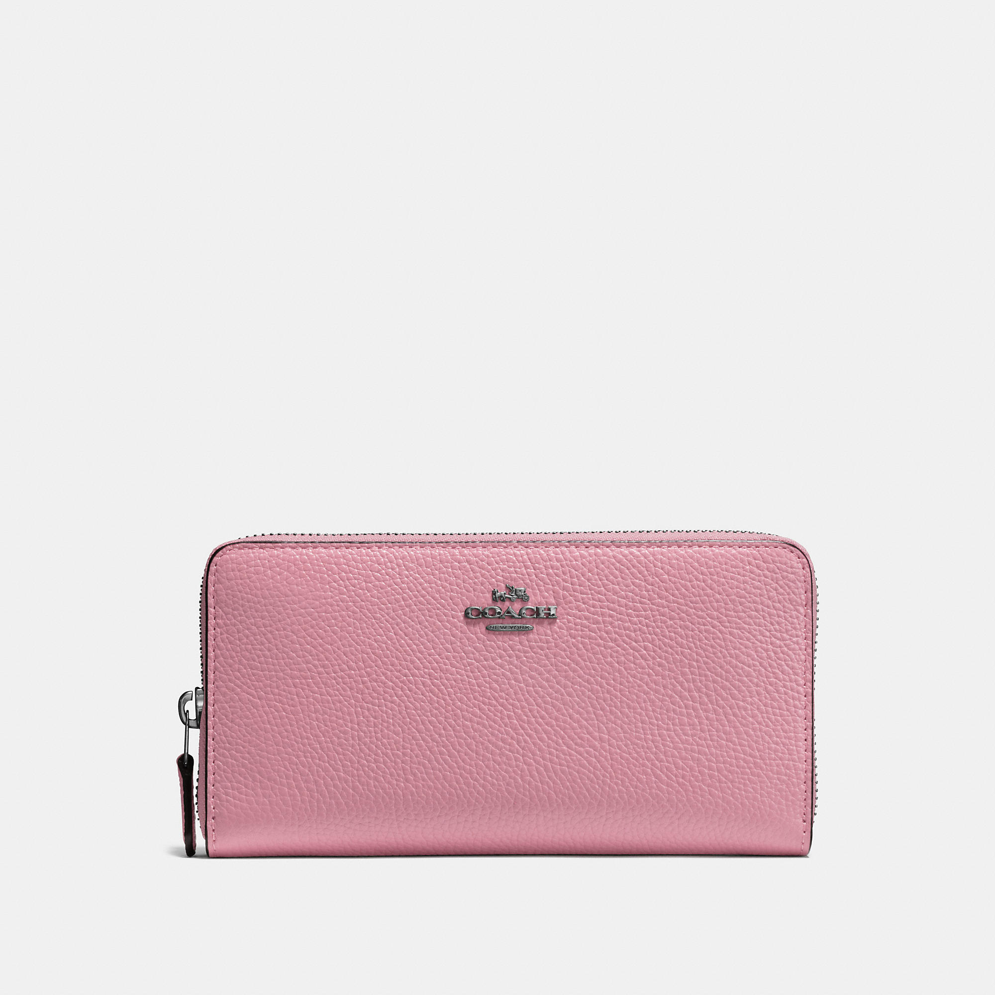 Coach Accordion Zip Wallet In Polished Pebble Leather