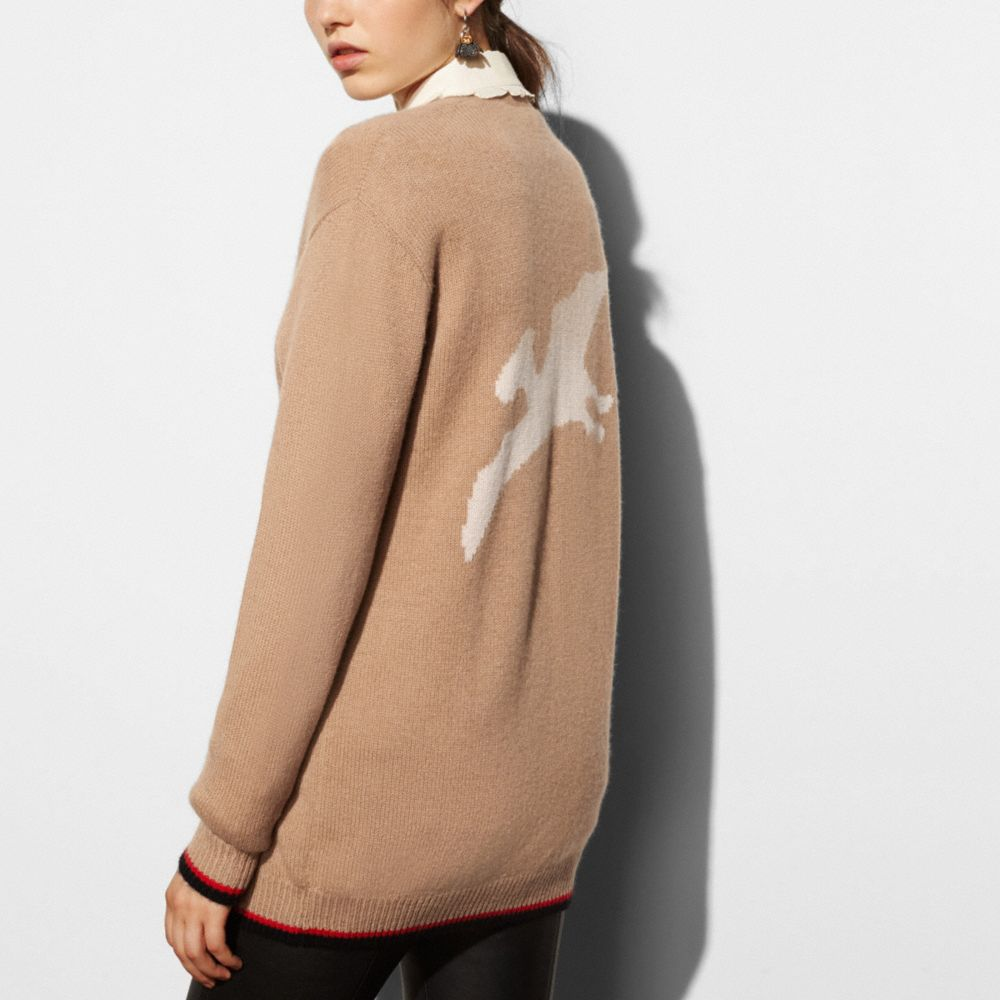 Coach Long Sleeve Cardigan With Dino Alternate View 2