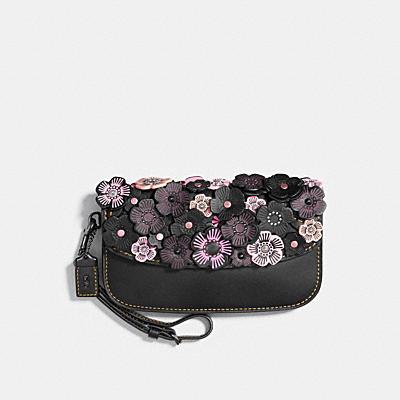 茶香玫瑰立體貼花小型手拿包
