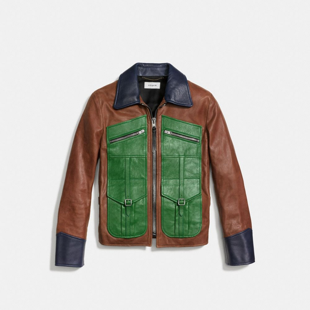 Coach Four Pocket Leather Jacket Alternate View 1