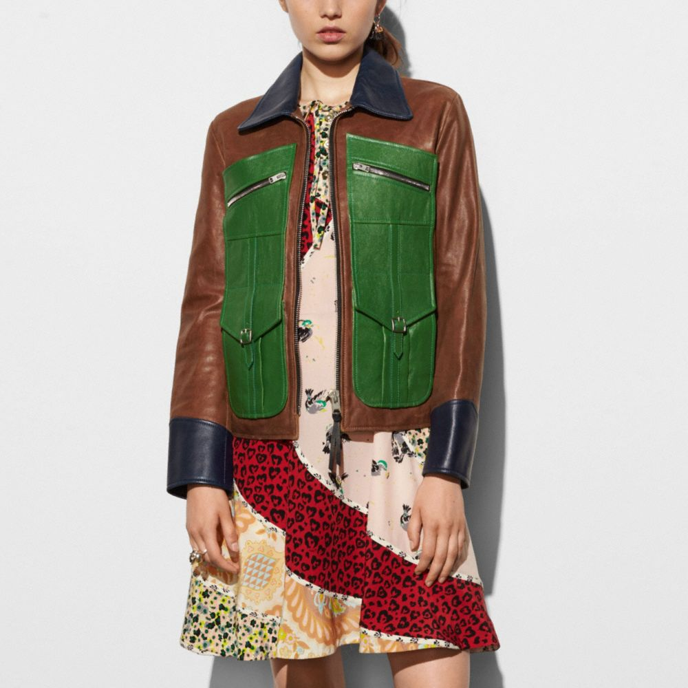 Four Pocket Leather Jacket - Alternate View M1