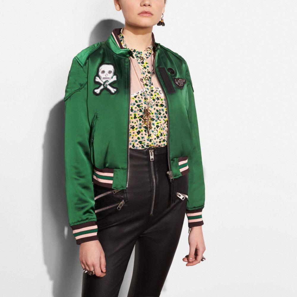 Satin Cropped Varsity Jacket