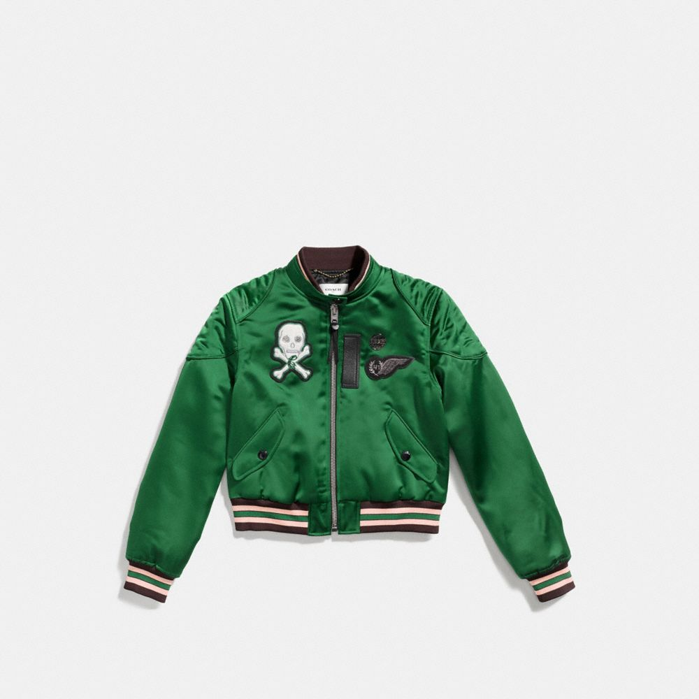 Satin Cropped Varsity Jacket - Alternate View A1