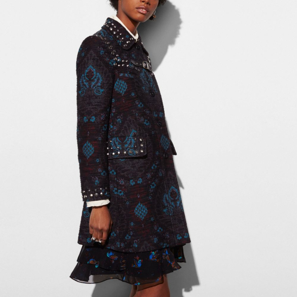 STUDDED TAPESTRY COAT - Alternate View